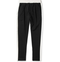 Berluti Tapered Silk Trimmed Wool And Mohair Blend Trousers Black