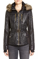 Michael Michael Kors Belted Hooded Mixed Media Jacket With Faux Fur Trim Black