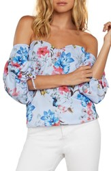 Willow And Clay Eliana Off The Shoulder Top Chambray