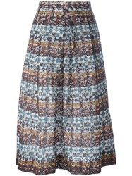 No21 Striped Lace Pleated Skirt Brown
