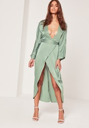 Missguided Silky Kimono Midi Dress Green Blue