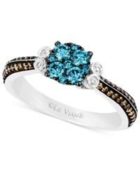 Le Vian Blue And Chocolate Diamond 5 8 Ct. T.W. And Diamond Accent Ring In 14K White Gold