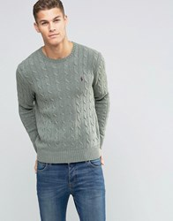 Polo Ralph Lauren Cotton Cable Knit Jumper In Regular Fit Green