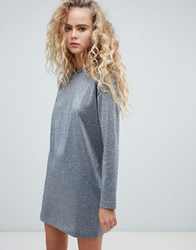 Weekday Jumper Dress In Silver Lurex Silver Lurex Black