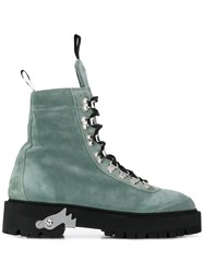 Off White Lace Up Hiking Boots Green