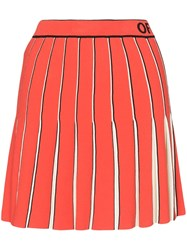 Off White Logo Printed Pleated Mini Skirt Red