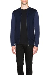 Calvin Klein Collection Idson Tonal Wool Tech Yarn Zip Up In Blue