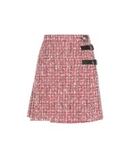 Alexander Mcqueen Embellished Tweed Skirt Red