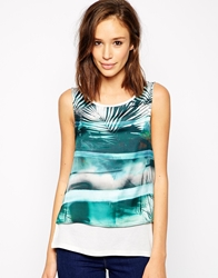 Vila Sleeveless Palm Print Top Snowwhiteprint