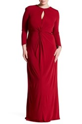 Abs By Allen Schwartz Key Hole Twist Front Gown Plus Size Red
