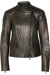 Belstaff Sidney Metallic Textured Leather Biker Jacket