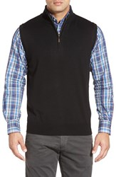 Men's Peter Millar Quarter Zip Merino Wool Vest Black