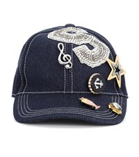 Dolce And Gabbana Embellished Denim Cap Blue