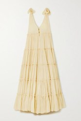 Innika Choo Rayleigh Grait Tiered Cotton Voile Maxi Dress Pastel Yellow