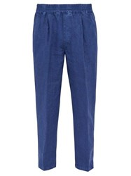 The Gigi King Mid Rise Linen Trousers Blue