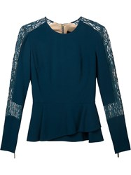 Elie Saab Lace Panels Long Sleeve Blouse Green