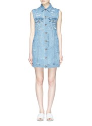 Forte Couture Faux Pearl Embellished Sleeveless Denim Dress Blue