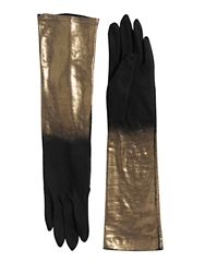 Yohji Yamamoto Gold Printed Long Cotton Gloves Black