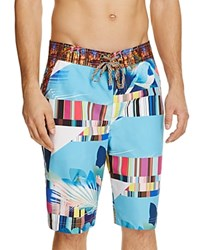 Robert Graham Samarinda Color Block Swim Trunks Blue Multi