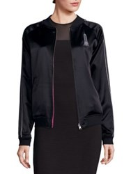 Opening Ceremony Embroidered Silk Cropped Jacket Black Fuchsia