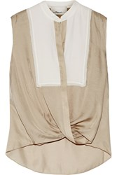 3.1 Phillip Lim Silk Georgette Trimmed Twill Top Beige