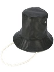 Aalto Faux Pearl Embellished Hat Women Leather Rayon One Size Black