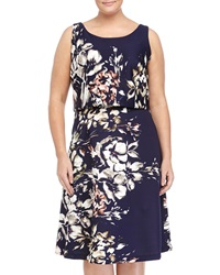 Taylor Floral Print Sleeveless Scoop Neck Dress Navy Multi