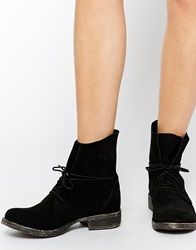 Ravel Lace Tie Suede Ankle Boots Blacksuede