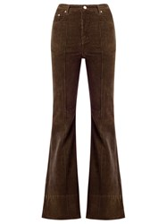Amapo High Waist Velvet Flared Trousers Women Cotton Elastodiene 46 Brown