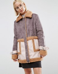 Asos Faux Shearling Coat In Patchwork Multi