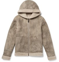 Yves Salomon Reversible Shearling Hooded Parka Mushroom