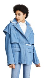 Courreges Jacket Double Breasted With Hood Washed Blue