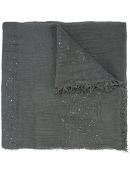 Fabiana Filippi Sequinned Detail Scarf Women Cotton Linen Flax Polyester One Size Grey