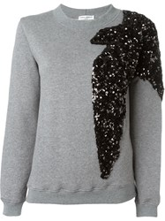 Sonia Rykiel Sequin Swallow Embroidery Sweatshirt Grey