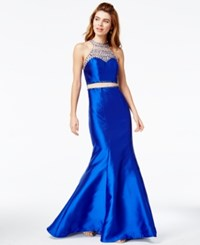 Say Yes To The Prom Juniors' Embellished Illusion Mermaid Gown A Macy's Exclusive Blue Nude Silver