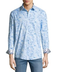 1 Like No Other Classic Fit Thin Line Floral Sport Shirt White