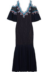 Peter Pilotto Crochet Trimmed Stretch Lace Midi Dress Navy