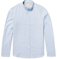 Brunello Cucinelli Grandad Collar Striped End On End Cotton And Linen Blend Shirt Sky Blue