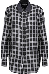 Rag And Bone Boyfriend Plaid Cotton Twill Shirt Black