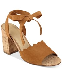 Marc Fisher Piya Lace Up Cork Block Heel Sandals Women's Shoes Brown Suede
