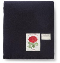 Kent And Curwen Fringed Wool Scarf Midnight Blue