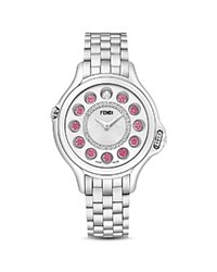 Fendi Crazy Carats Stainless Steel Rotating Gemstones Watch With Diamonds 38Mm White Silver