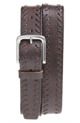John Varvatos Men's Star Usa Laced Leather Belt Chocolate