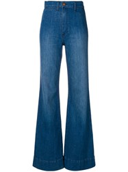 Alice Olivia High Waisted Flared Jeans Blue