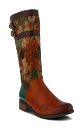 L'artiste Floral Boot Camel Multi Leather