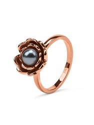 Folli Follie Grace Flair Blue Pearl Flower Ring Rose Gold