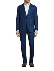 Isaia Regular Fit Striped Wool Suit Bright Blue