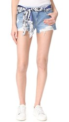 Sjyp Destroyed Belted Shorts Light Blue