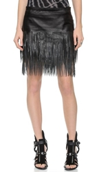 Blk Dnm Leather Skirt 40 With Fringe Black