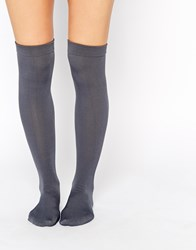 Plush Fleece Lined Knee High Socks Gray